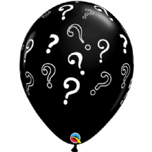 "Gender Reveal Balloons - 16"" Black Question Mark Balloons (10pcs)"